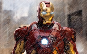 Картинка red, gold, rain, armor, mark, marvel, man, heroes, hero, iron, avenger, ironman