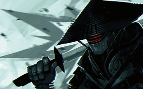 Картинка робот, меч, катана, самурай, киборг, киберпанк