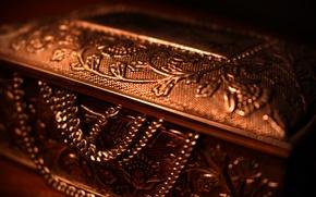 Картинка золото, шкатулка, gold, цепи, сокровище, богатство, treasure