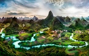 Картинка горы, холмы, Гуанси, юг Китая, Гуанси-Чжуанский автономный район