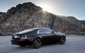 Картинка Rolls-Royce, лучи, Wraith, автомобиль, черный, роллс-ройс, солнце, Black Badge