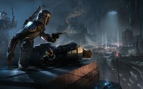 Картинка город, воин, звездные войны, star wars, инопланетяне