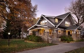 Картинка осень, деревья, дом, дорожка, особняк