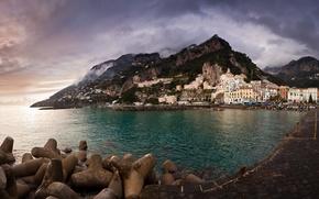 Картинка море, небо, горы, фон, обои, здания, дома, Италия, Побережье, wallpapers, italy, Амальфи, Amalfi Coast