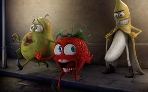 Обои страх, клубника, груша, фрукты, извращенец, паника, Банан
