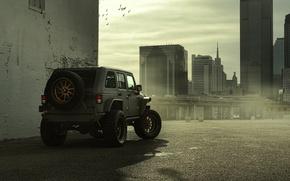 Картинка Город, Зад, Джип, Внедорожник, Nighthawk, Wrangler, Jeep, 2014