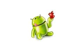Картинка apple, яблоко, Android, кушает