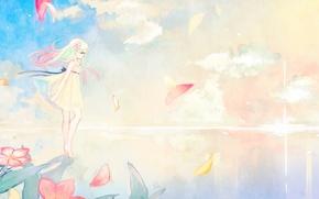Картинка небо, вода, девушка, солнце, облака, цветы, аниме, лепестки, арт, zombie neko