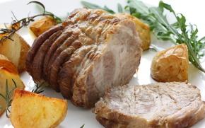 Картинка зелень, запеченное мясо, запеченный картофель, мясное блюдо
