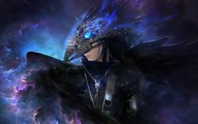 Картинка девушка, фантастика, клюв, маска, арт, ворон, raven