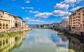 Картинка облака, мост, город, река, здания, Италия, канал, river, Italy, clouds, Italia, town, kanal