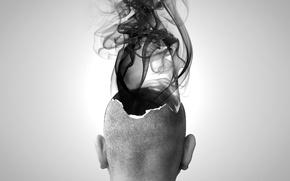 Обои голова, Взрыв, Мозг, дым, черно-белая