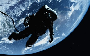 Обои космос, бесконечность звездного поля, astronaut силуэт, выход открытый космос, Земля атмосфера, невесомость, красотища, wallpaper., боке, ...