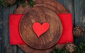 Картинка стол, праздник, романтика, сердце, украшение, heart, holiday, romance, table, decoration