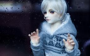 Картинка грусть, печаль, кукла, парень, белые волосы, капли воды, doll, BJD, шарнирная кукла