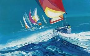 Картинка море, волны, ветер, картина, яхта, парус, регата, Nicola Simbari, ШКВАЛ