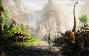 Картинка динозавры, много, Fel-X, the land of dinosaurs