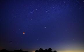 Картинка небо, звезды, Луна, затмение
