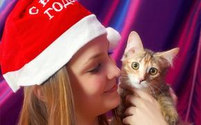 Картинка кошка, кот, девушка, лицо, секси, улыбка, фон, модель, шапка, sexy, красотка, котёнок, Amelie, Эмили