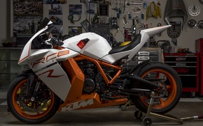 Картинка дизайн, гараж, мотоцикл, спортбайк, KTM RC8R