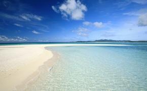 Обои вода, песок, Облака