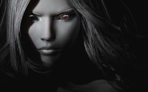 Картинка глаза, девушка, рендеринг, волосы, черно белая, вампирша