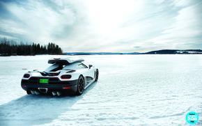 Обои зима, лес, небо, снег, озеро, багажник, суперкар, вид сзади, top gear, высшая передача, топ гир, ...