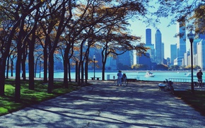 Картинка осень, парк, люди, небоскребы, чикаго, Chicago