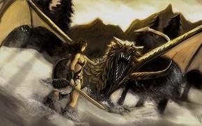 Картинка девушка, снег, горы, дракон, меч, щит, Skyrim, Dovahkiin