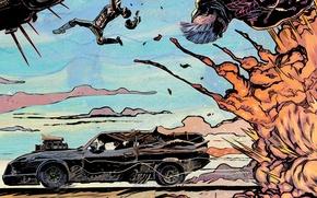 Картинка car, авто, взрыв, нагнетатель, auto, art, 1973, Mad Max, Fury Road, Безумный Макс: Дорога ярости, …
