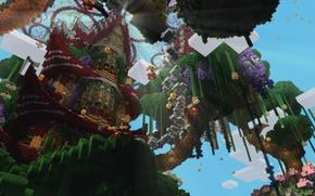 Картинка небо, облака, деревья, башня, блоки, луч, Minecraft