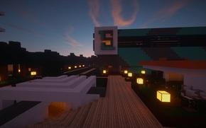 Картинка Вечер, Деревья, Свет, Здание, Minecraft