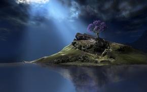Обои небо, вода, тучи, фантастика, дерево, остров