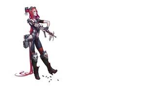 Обои девушка киборг, постапокалипсис, рука пулемет, киборг, импланты, киберпанк
