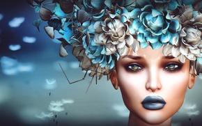 Картинка взгляд, девушка, цветы, лицо, фон, головной убор