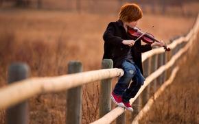 Картинка музыка, скрипка, забор, мальчик