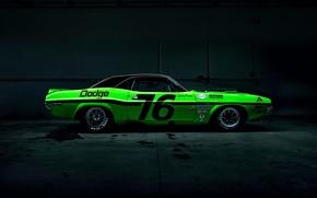 Картинка Dark, Muscle, Dodge, Challenger, Car, Race, Green, Side, American