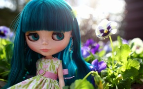 Картинка цветок, взгляд, волосы, кукла, платье, анютины глазки, челка, виола