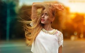 Картинка Солнце, Девушка, Губы, Волосы, Блик, Красивая, Настя