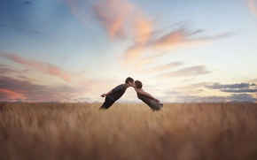 Картинка поле, девушка, пара, парень