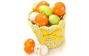 Картинка краски, цвет, яйца, пасха, корзинка