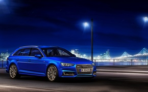 Обои 2015, синяя, quattro, Avant, TDI, ауди, Audi, универсал