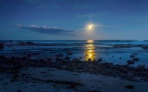 Картинка песок, море, вода, свет, камни, луна, берег, дорожка, блястит, moonshine
