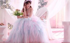 Картинка радость, букет, невеста, свадьба