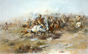 Картинка картина, живопись, painting, 1903, The Custer Fight, Charles Marion Russell