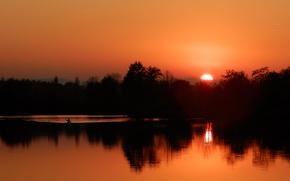 Картинка twilight, sunset, lake, dusk, canoe