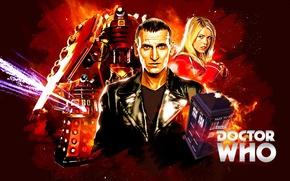 Картинка взгляд, девушка, актриса, актер, мужчина, будка, Doctor Who, Доктор Кто, ТАРДИС, кожаная куртка, TARDIS, Daleks, …
