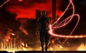 Обои оружие, арт, парень, пожар, аниме, город, луна, облака. дым, luen_kulo, огонь