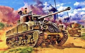 Картинка weapon, war, art, painting, tank, ww2, Sherman Firefly