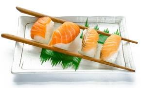 Обои палочки, семга, рис, суши